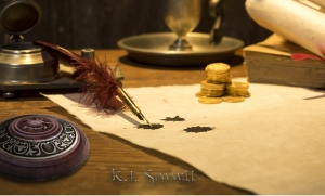 candle, quill, writing,